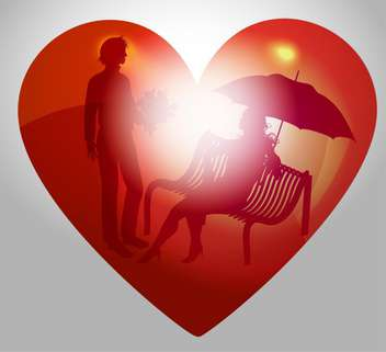 vector illustration of young couple on bench in red heart - vector gratuit #127514