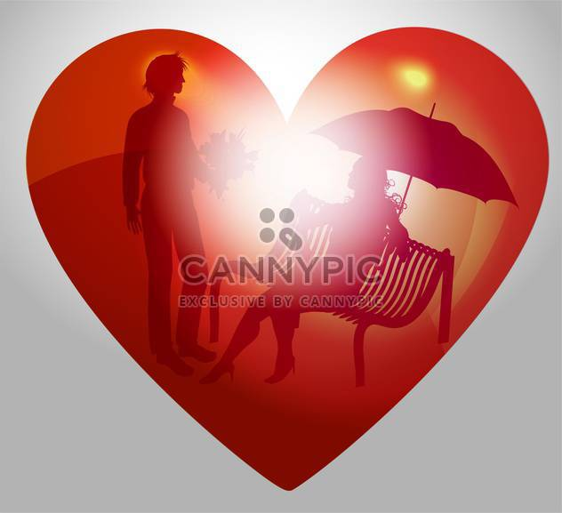 vector illustration of young couple on bench in red heart - Free vector #127514