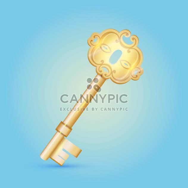 vintage vector golden key on blue background - Free vector #127574