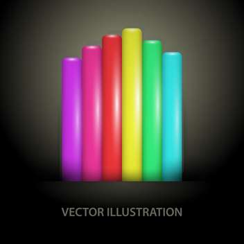 vector illustration of rainbow gradient lines on dark background - Free vector #127674