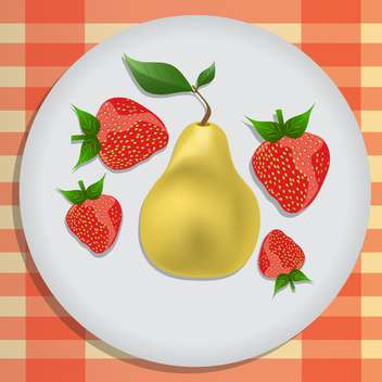 vector illustration of pear and strawberries on plate - vector gratuit #127724