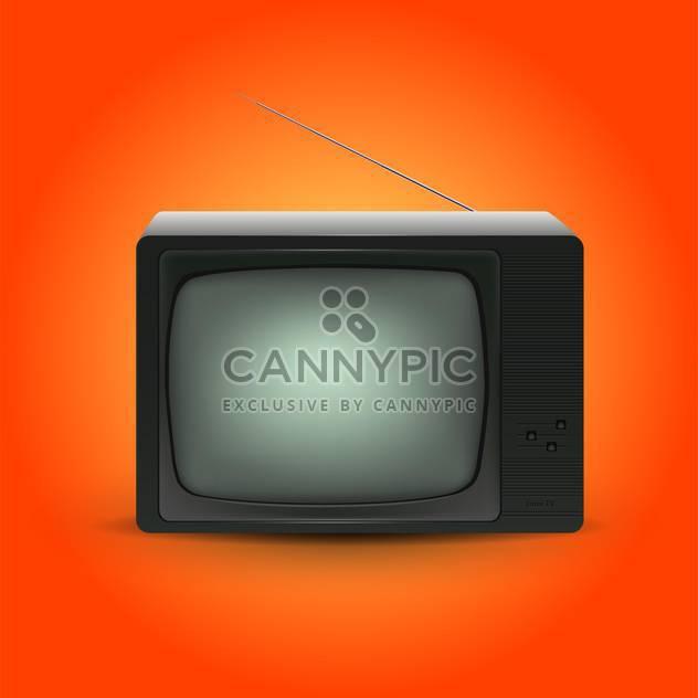 Vektor-Illustration von retro tv auf orangefarbenen Hintergrund - Free vector #127744