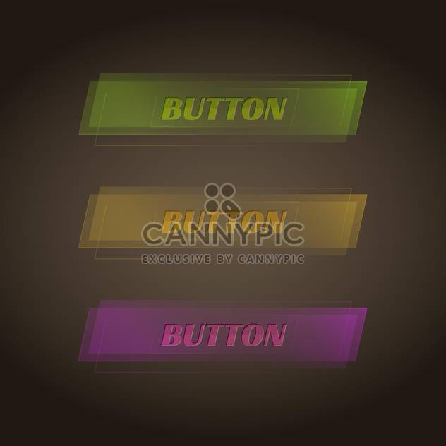 vector set of three colorful buttons on dark background - Free vector #127784