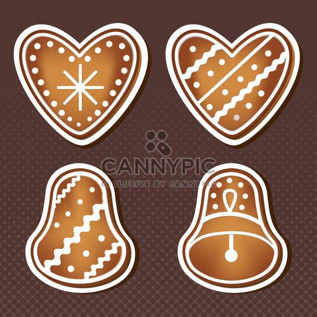 sweet christmas cookies on brown background - Free vector #127814