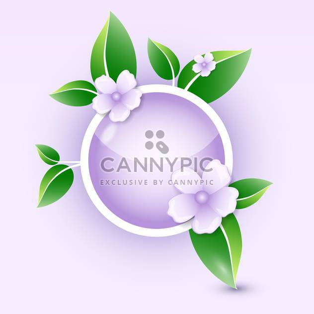 vector illustration of round shaped floral icon with green leaves - Free vector #127824