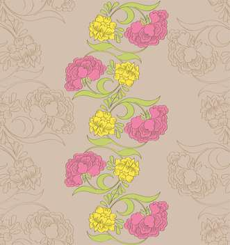 Vector floral seamless pattern with fantasy blooming flowers - Free vector #127854