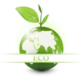 apple earth with eco sign on white background - vector gratuit #128014