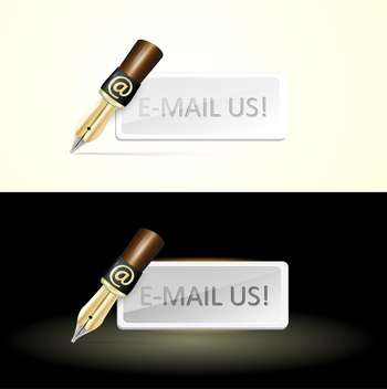 two pens with at sign and card with e-mail us text - vector gratuit #128024