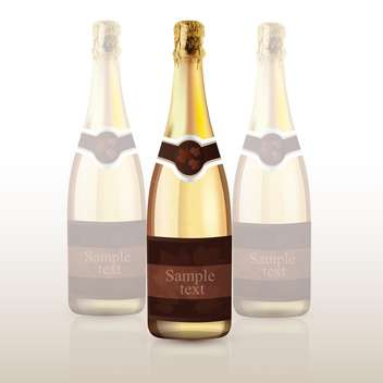 vector illustration of champagne bottle with text place - vector gratuit #128094