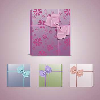 Set with colorful gift boxes with bows and ribbons - бесплатный vector #128184