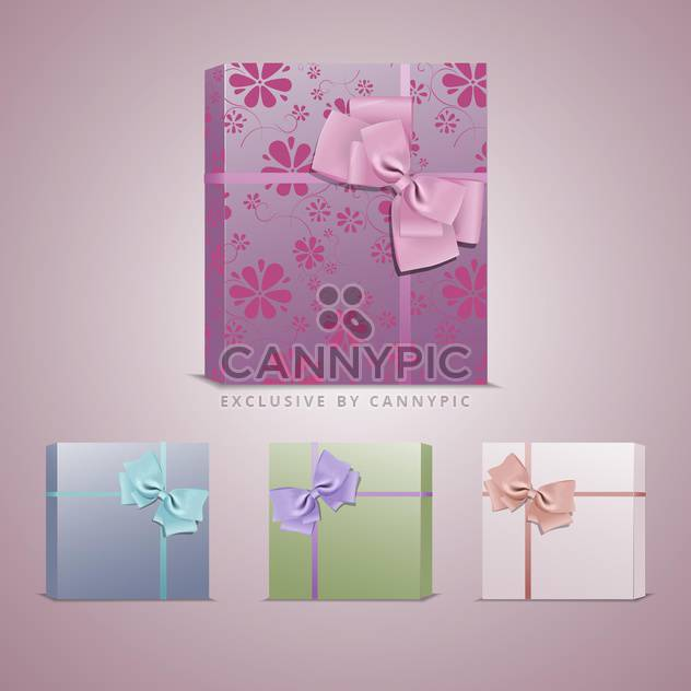 Set with colorful gift boxes with bows and ribbons - Free vector #128184