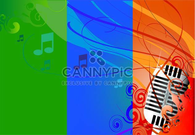 Vector illustration of classic microphone, multicolored background & notes. - Free vector #128504