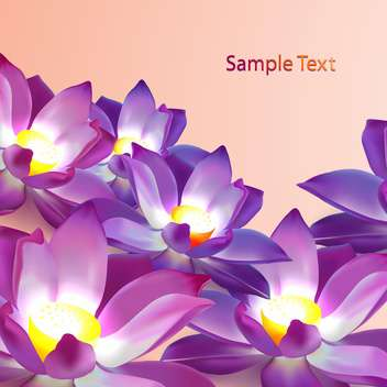 Vector floral background with violet lotuses and place fo text - vector gratuit #128534