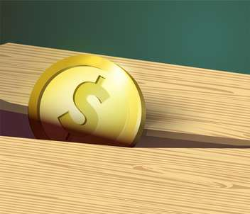 Gold coin with dollar sign and wooden board. - Free vector #128714