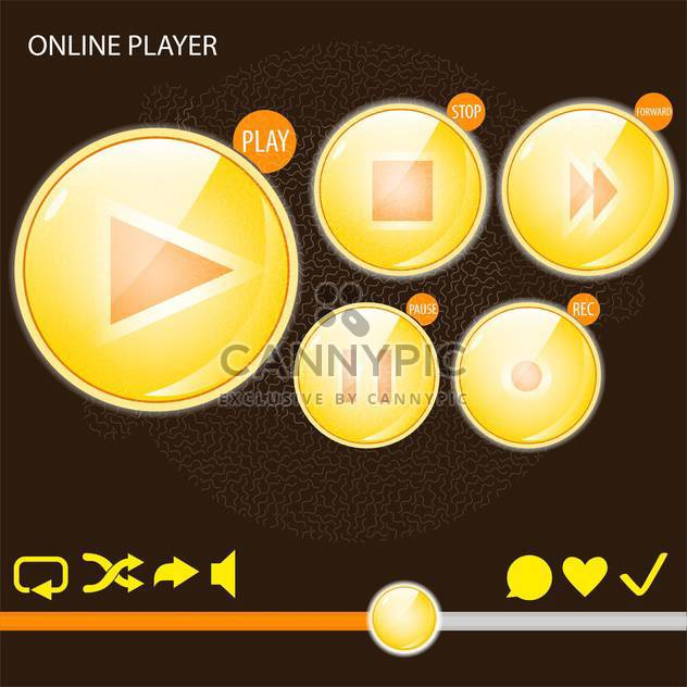Vector set of audio media player buttons - Free vector #128824