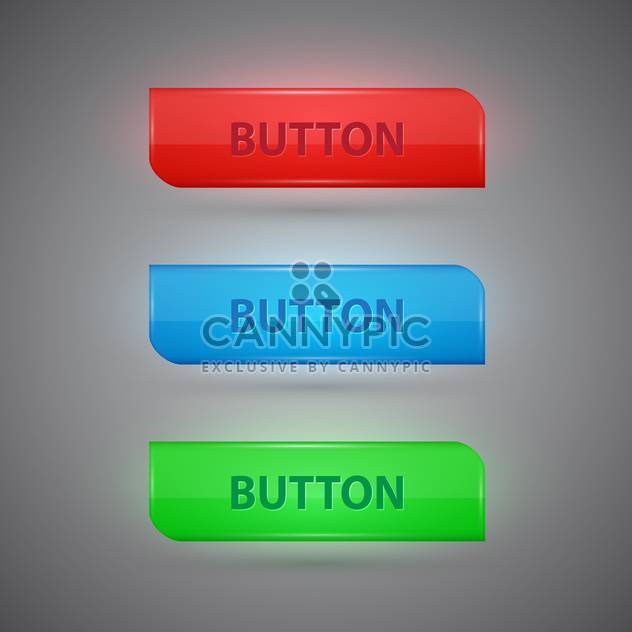 Vector set of colorful buttons on grey background - Free vector #128834