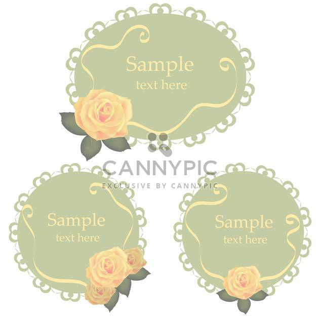 Vector floral lace frames with roses - Free vector #128854