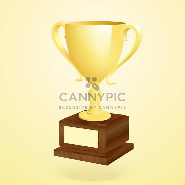 Vector illustration of golden trophy on golden background - Free vector #128914