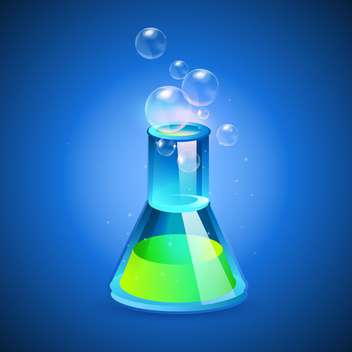 Vector illustration of a glass flask with green liquid on blue background - Free vector #128924