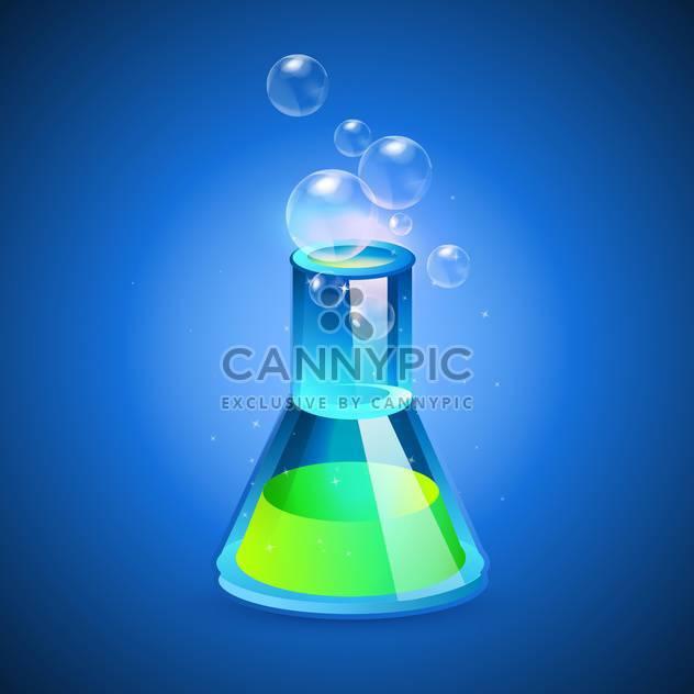 Vektor-Illustration von einem Glaskolben mit grüne Flüssigkeit auf blauem Hintergrund - Free vector #128924