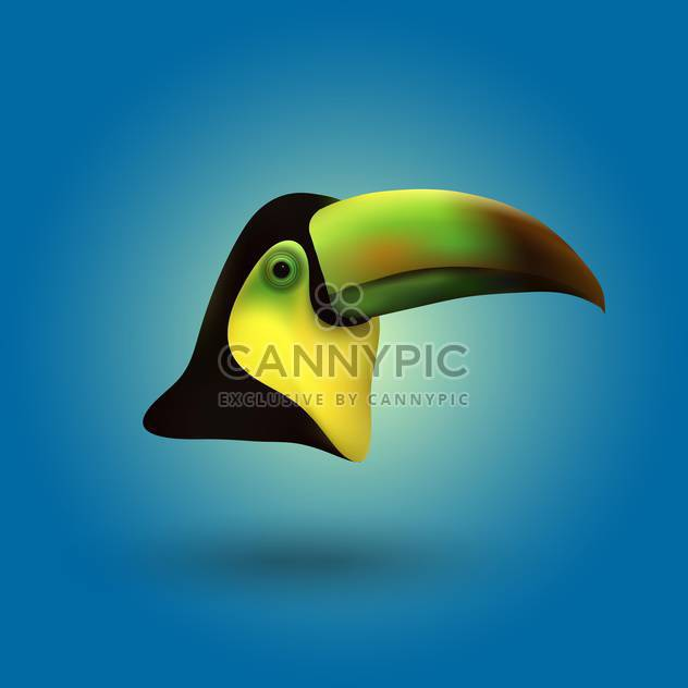Vector toucan head illustration on blue background - Free vector #128944