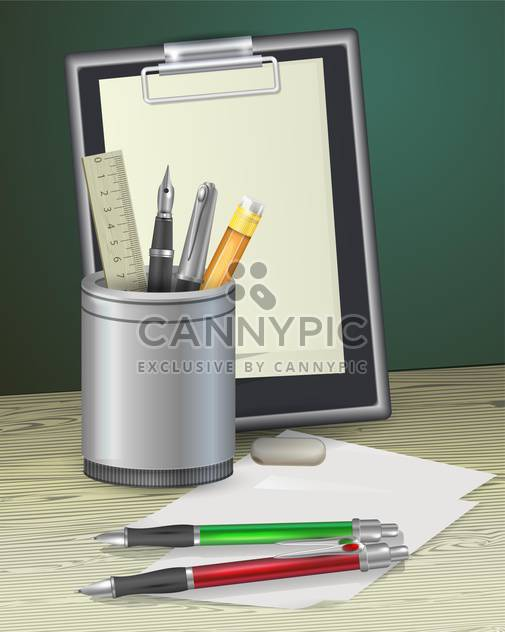 notepad with pens, ruler and pencil - Free vector #129064