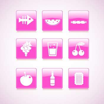 vector food square pink icons - vector gratuit #129164