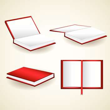 vector set of red books illustration - vector gratuit #129204