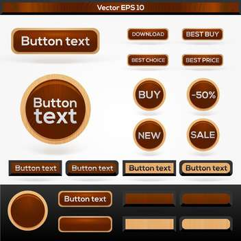 set of vector wooden sale buttons - Free vector #129224