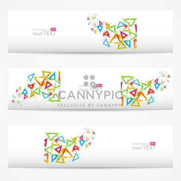 Abstract vector white cards with colorful triangles - Free vector #129294