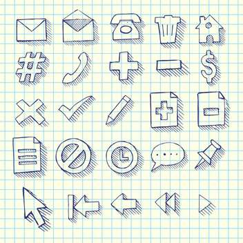 Vector sketchy doodle web computer icons set - vector gratuit #129314