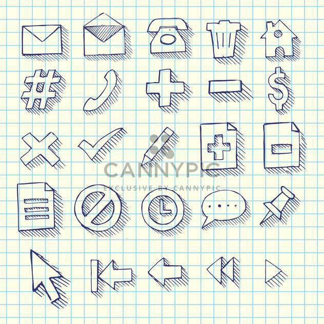 Vektor skizzenhaften Gekritzel Web Computer-Icons set - Kostenloses vector #129314