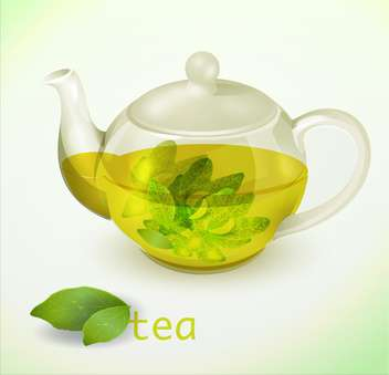 Vector illustration of glass teapot with herbal tea - Free vector #129334