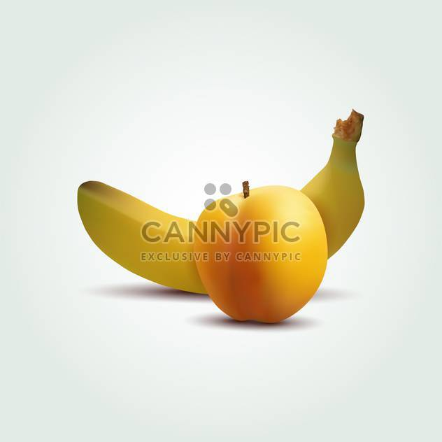 Vektor-Illustration von Früchten, Pfirsich und Banane - Kostenloses vector #129344