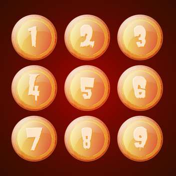 Vector set of orange buttons with numbers - vector #129374 gratis