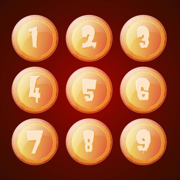 Vector set of orange buttons with numbers - vector gratuit #129374