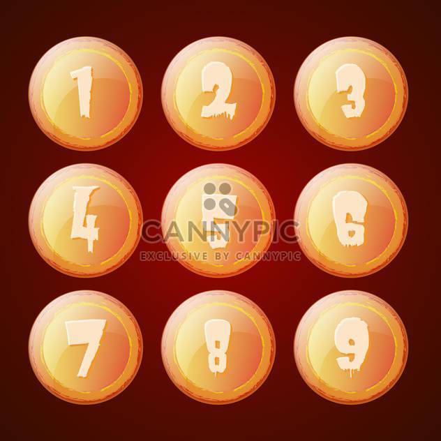 Vector set of orange buttons with numbers - Free vector #129374