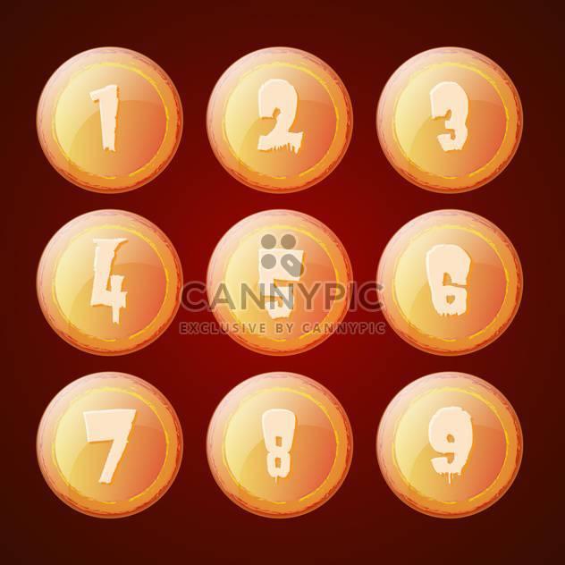 Vektor-Satz der Orangen Buttons mit Zahlen - Free vector #129374