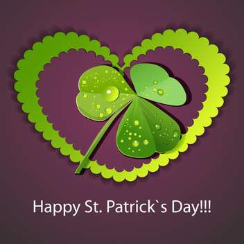 Vector St Patricks day greeting card with heart and clover leaf - vector gratuit #129384