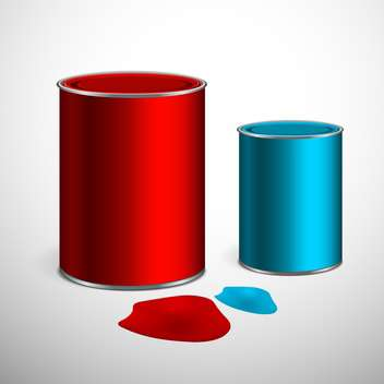 Two buckets of blue and red paint on gray background - vector gratuit #129424