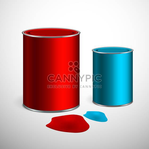 Two buckets of blue and red paint on gray background - Free vector #129424
