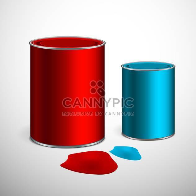 Zwei Eimer Farbe von blau und rot auf grauem Hintergrund - Kostenloses vector #129424