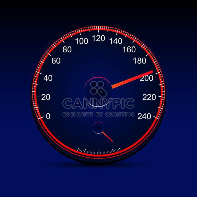 vector illustration of red speedometer design on blue background - Free vector #129504