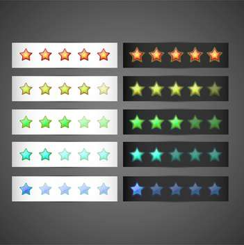 Vector set of colorful stars rating template on gray background - бесплатный vector #129524
