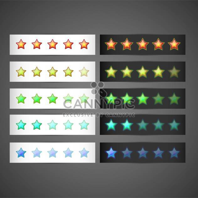 Vector set of colorful stars rating template on gray background - Free vector #129524