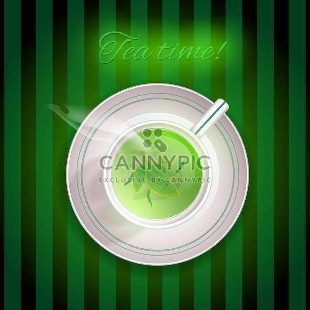 Tea Time card with cup of green tea on striped green background - Free vector #129584