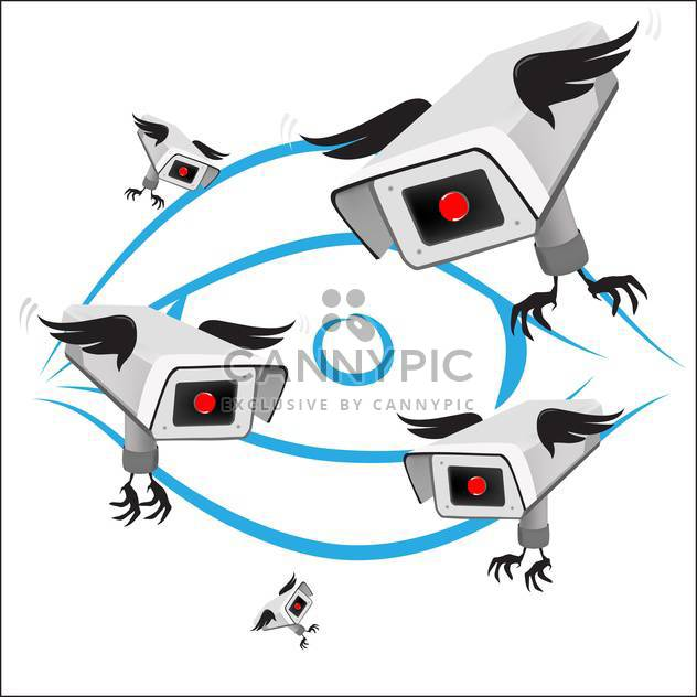 Vector surveillance cameras with wings isolated on white background - Free vector #129624