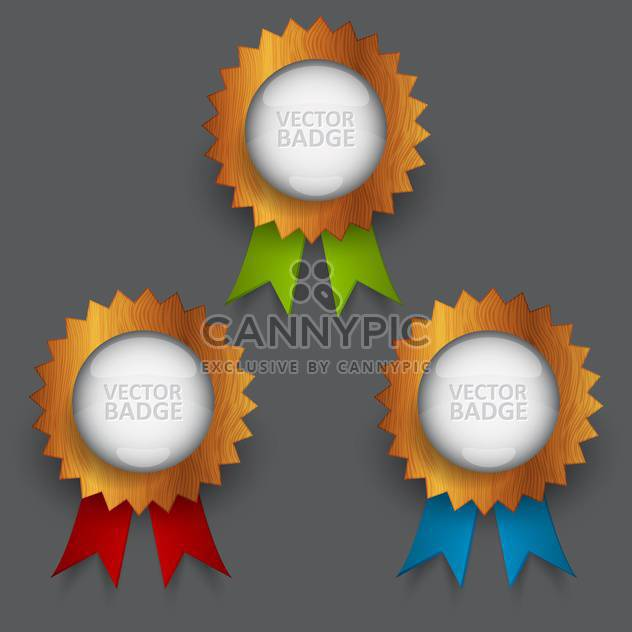Vector set of badges with ribbons - Free vector #129634