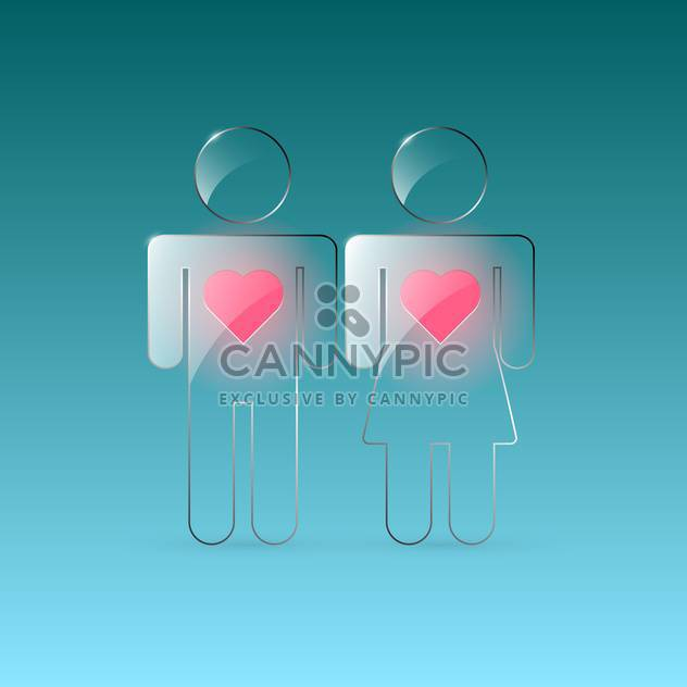 Vector transparent male and female signs with hearts on green background - Free vector #129694