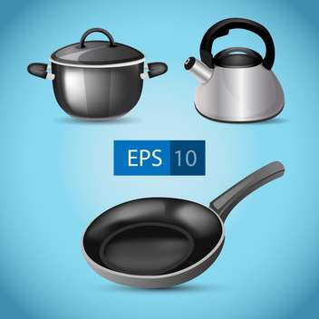 Vector illustration of pot, kettle and frying pan on blue background - Free vector #129714